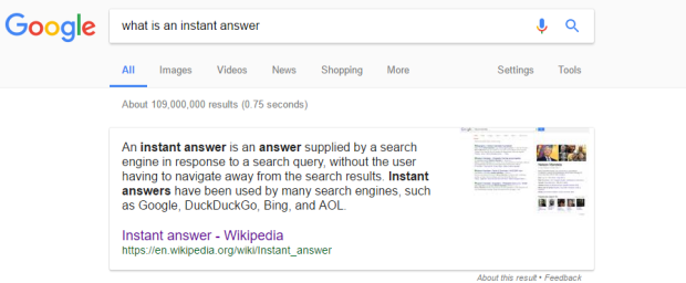 google instant answer
